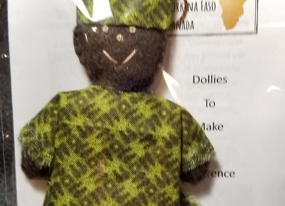 Burkinabe Man Doll Ornament w Info Booklet - Dark & Light Green