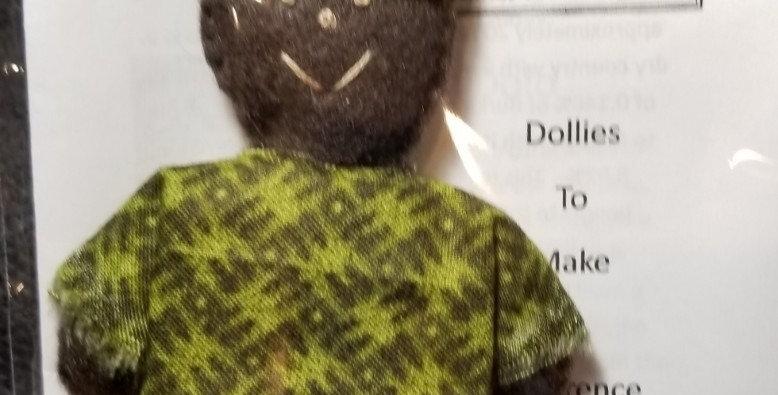Burkinabe Man Doll Ornament w Info Booklet - Dark & Light Green