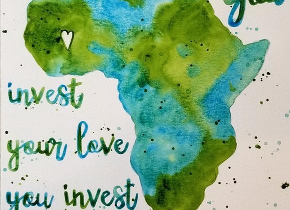 Where You Invest...Original Watercolour Turq. & Green
