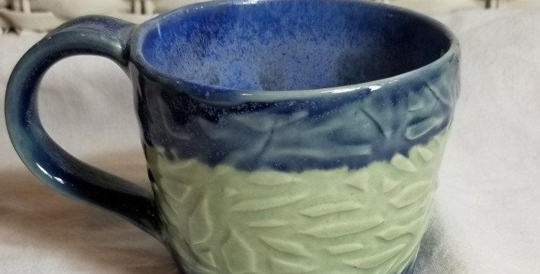 Cappuccino Mug - Pistachio and Blue