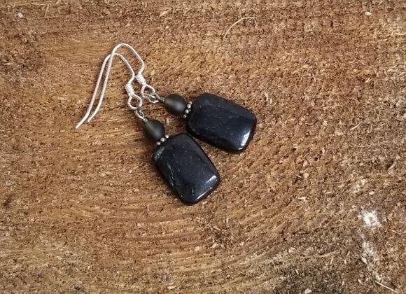 Earrings #Ear-3 - Sterling Shepherd Hook w Black Stone