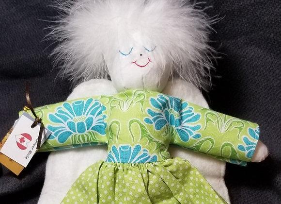 Angel Soft Doll  - Green Polka Dot w. Teal & Green Top