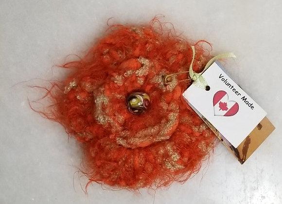 Brooch Crocheted Flower #KC-34 - Orange/Green