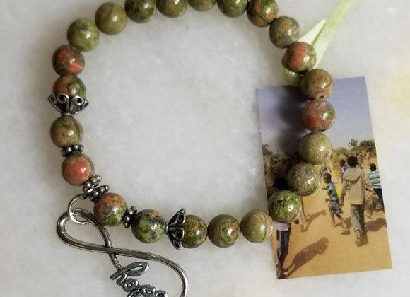 """Bracelet #29 - Hope Green Bead - 8"""""""