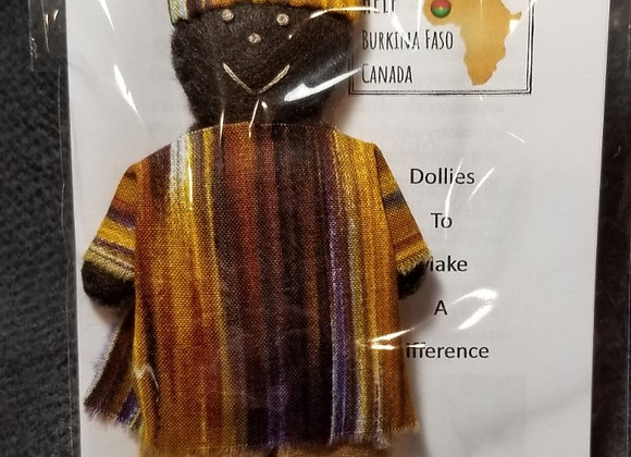 Burkinabe Man Doll Ornament w Info Booklet - Brown/Yellow/Purple Blended
