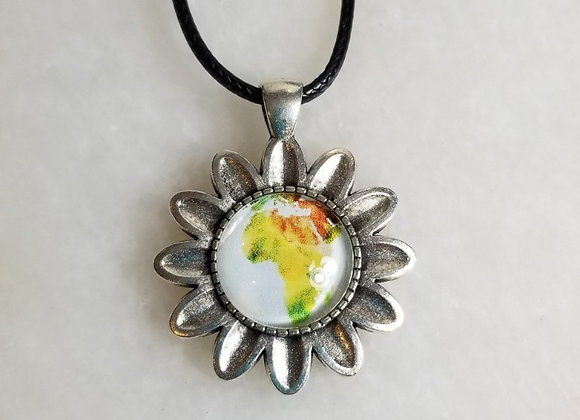 """Necklace #60  - Flower/Blk Cord - 16"""""""