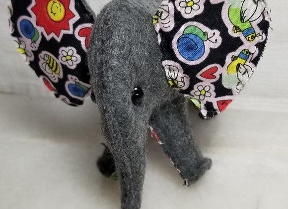 Felt Elephant #EL-3 - Black w Flowers & Bees