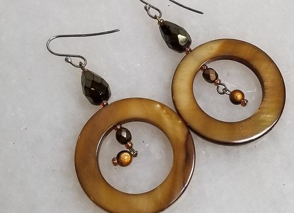 Earrings #Ear-7 - Sterling Shepherd Hook w Topaz Shell Circles