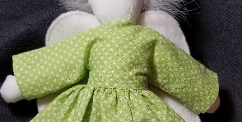 Angel Soft Doll  - Green Polka Dot
