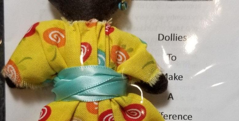 Burkinabe Lady Doll Ornament w Info Booklet - Yellow w Lollipops