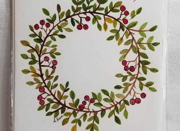 Card Watercolour #WCC-2 - Wreath