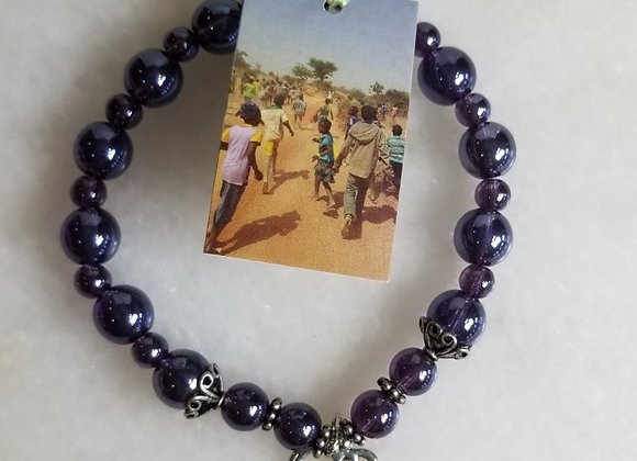 Bracelet #40 - Purple/Elephant/Lg Bead -8""