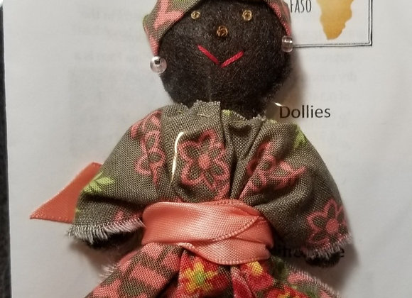 Burkinabe Lady Doll Ornament w Info Booklet - Brown/Pink/Green Floral