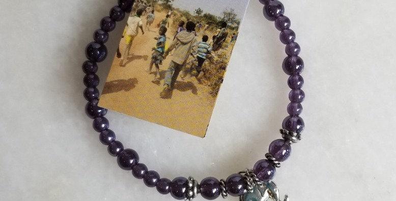 "Bracelet - Purple/Elephant -8"""