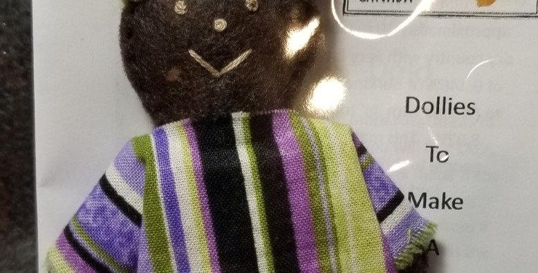 Burkinabe Man Doll Ornament w Info Booklet - Purple/White/Green Stripe