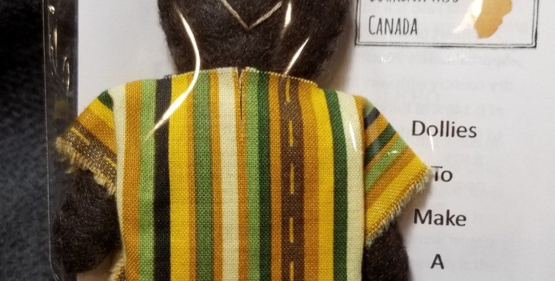 Burkinabe Man Doll Ornament w Info Booklet - Yellow/Green/Brown Stripe