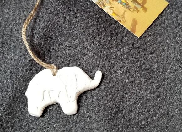 Elephant Ornament w Elephant Imprint  - Mini - White Bisque Ceramic