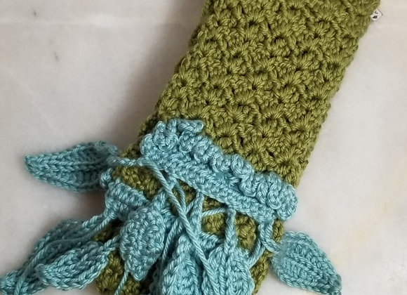 Scarf #KC-12 - Green w Turq Leaves - 78""