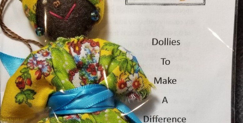 Burkinabe Lady Doll Ornament w Info Booklet - Yellow & Green Floral