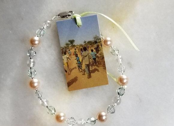 "Bracelet #43 - White Glass Pearl -7"""