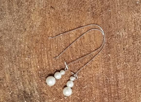 Earrings #Ear-2 - Sterling French Hoop w Silver Drop