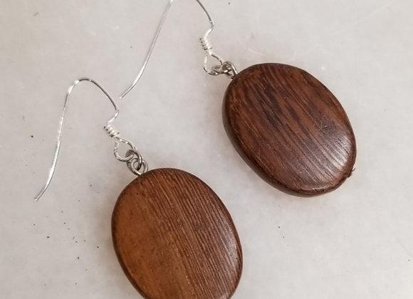Earrings #Ear-6 - Sterling Shepherd Hook w Oval Wood