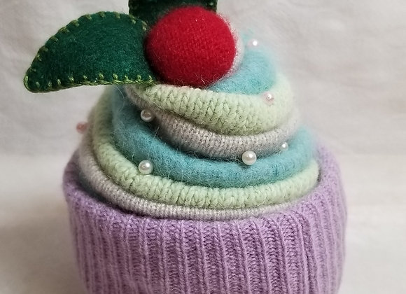 Pincushion Recycled Sweater Cupcake #Pin-1 - Purple
