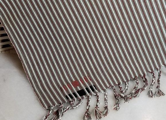 Weaving - Burgundy/White/Khaki - w Tassels