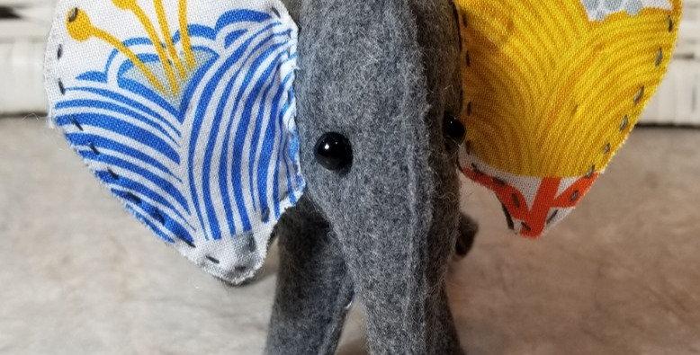 Ffelt Elephant - Volunteer Made - Blue Ear/Yellow Ear