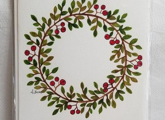 Card Watercolour #WCC-1 - Wreath