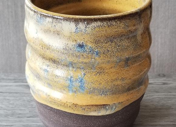 #P142 - Yellow Blue on Dark Clay Vessel