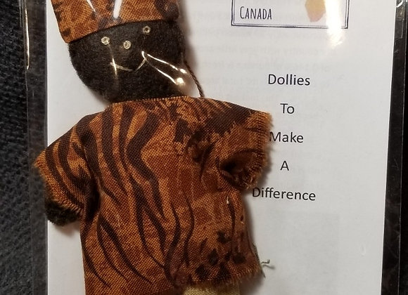 Burkinabe Man Doll Ornament w Info Booklet - Brown Tiger Print