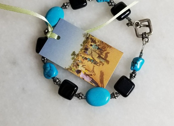 "Bracelet #32- Black/Turquoise/Pewter - 9"""