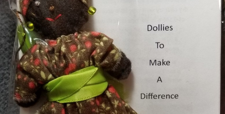 Burkinabe Lady Doll Ornament w Info Booklet - Brown w Green Flowers