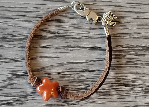 #B61 - Orange Clay Flower and Leather