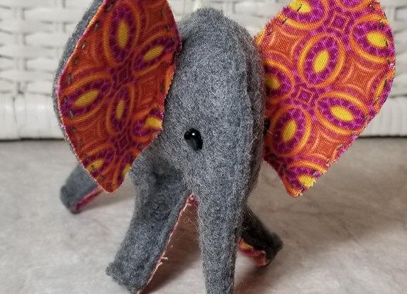 Felt Elephant - Volunteer Made - Pink/Burnt Orange/Yellow