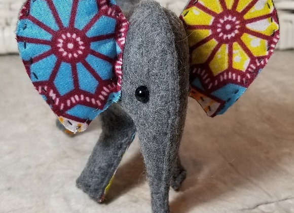 Felt Elephant - Volunteer Made - Blur Flower Ear/Yellow Flower Ear