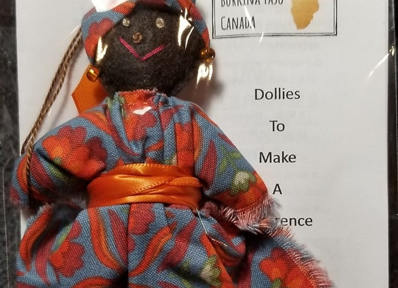 Burkinabe Lady Doll Ornament w Info Booklet - Grey & Red