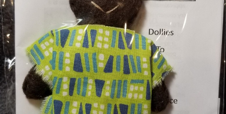 Burkinabe Man Doll Ornament w Info Booklet - Green w White & Blue