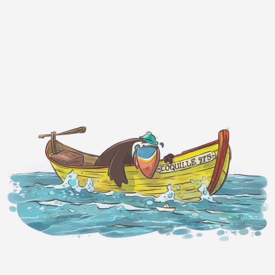 Illustration de Macao sur doris extrait du Carnet d'aventures de Saint-Pierre et Miquelon