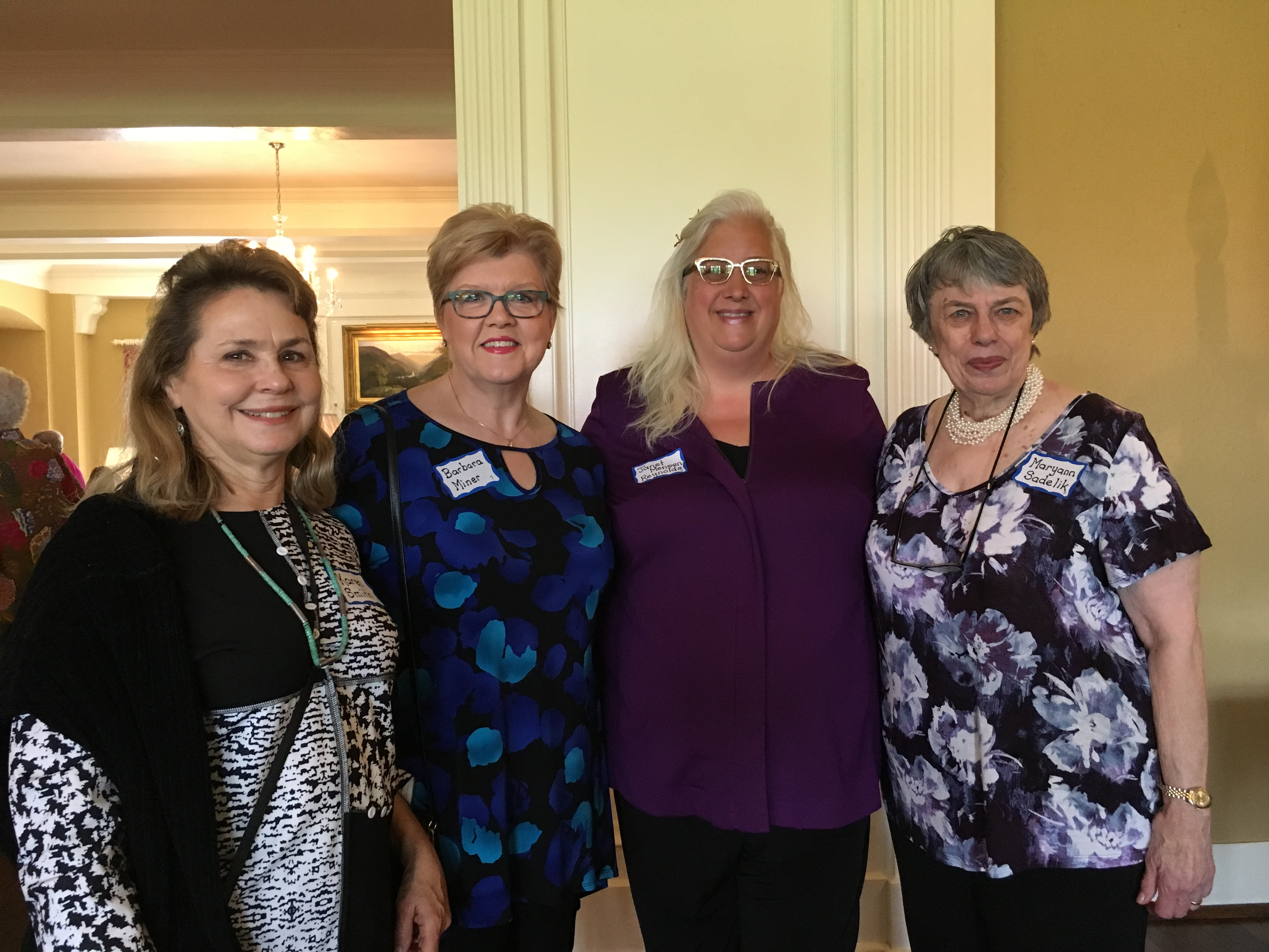Karen S., Barbara M, Janet M R and guest, May Luncheon 2018