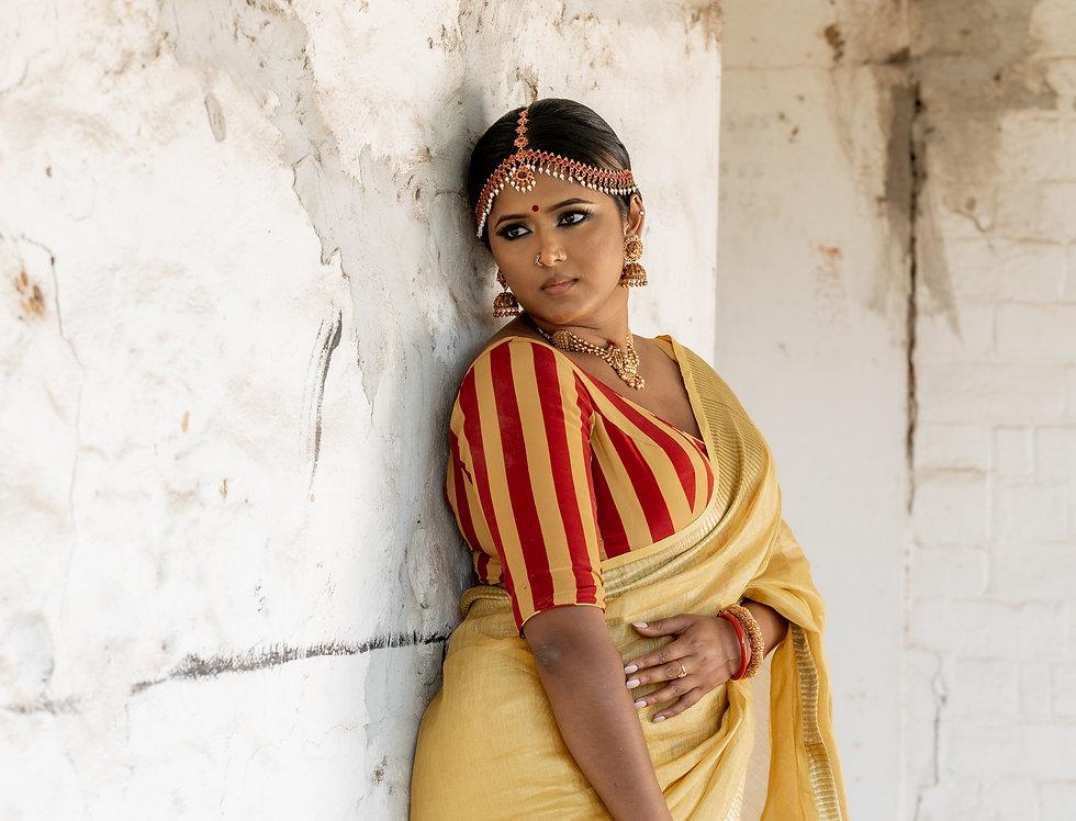 Linen Silk/Cotton Zari Pallu Saree Set