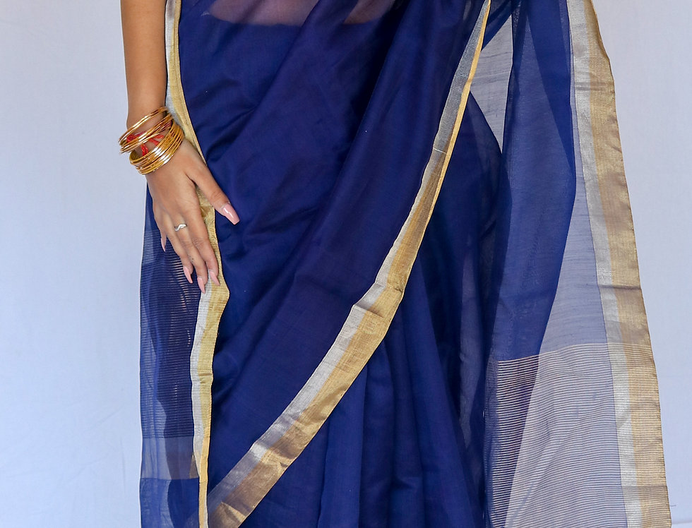 Taluk - Chanderi Electric Blue Cotton/Silk Saree