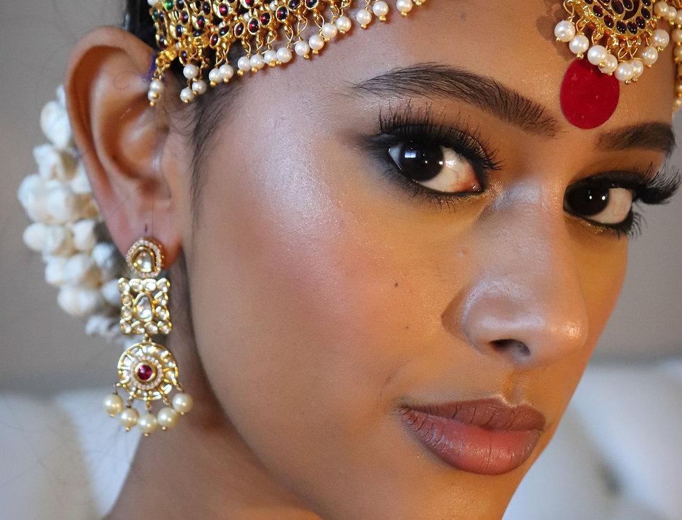 Red Stone Kundan & Pearl earring pair
