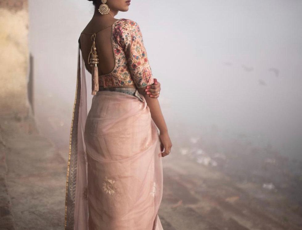 Banarasi Tissue Silk Saree with Tussar Silk Blouse