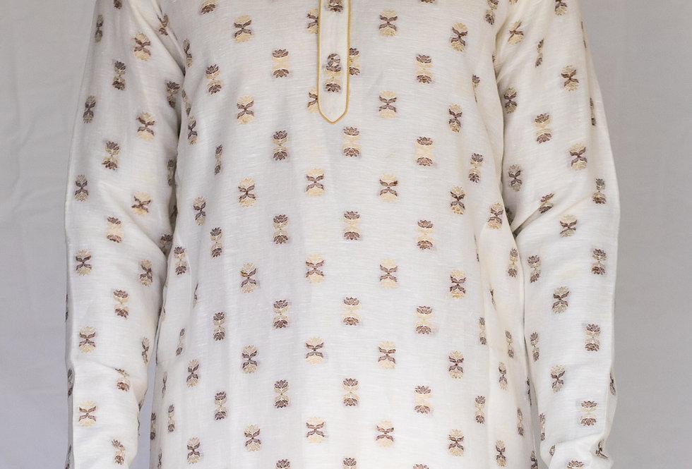 Pure Hand crafted Linen silk Banarasi kurta & White Churidaar set