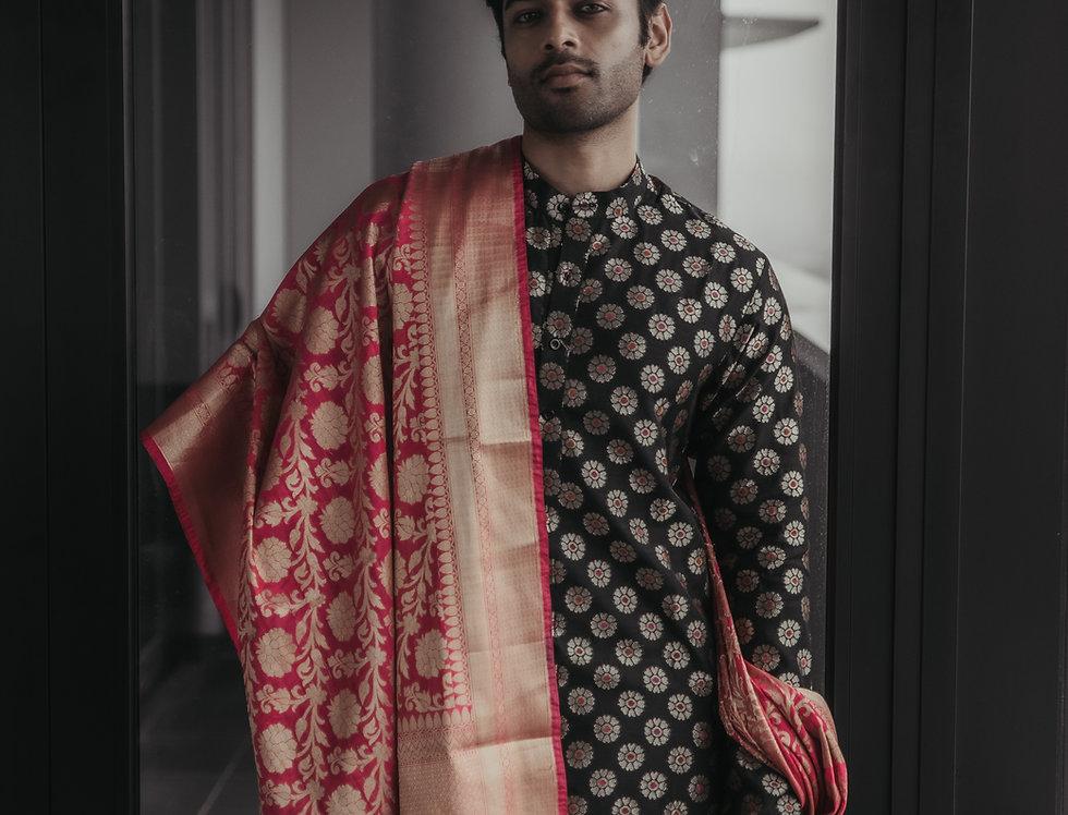 Banarasi Silk Kurta off white Dhotti & Katan  Banarasi Duppatt