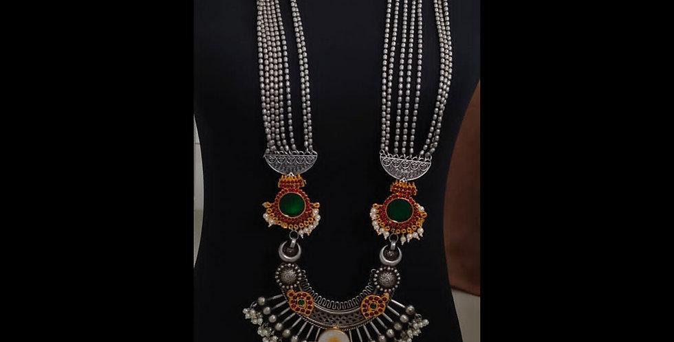 MOTI Brass & German Silver Long Necklace with Kundans