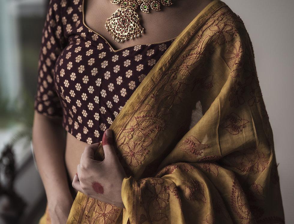 Chikankari Cotton Silk Saree (Mustard & berry)