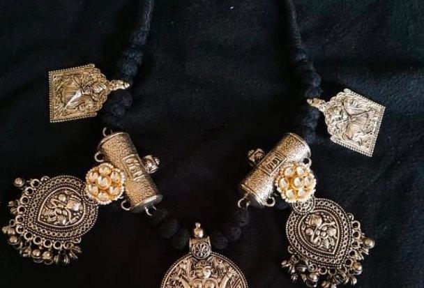 Durga Choker in German Silver, Brass & Kundan